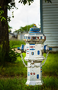 Decorated fire hydrant, Stanley Street, Elbow, Saskatchewan