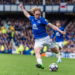 Everton midfielder Tom Davies (26) gets in a shot on goal in the Premier League match between Everton and Burnley<br /> (c) John Baguley | SportPix.org.uk