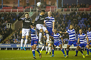 Charlie Adam (26) of Reading heads the ball clear during the EFL Sky Bet Championship match between Reading and Derby County at the Madejski Stadium, Reading, England on 21 December 2019.