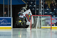 KELOWNA, CANADA - DECEMBER 5: Kelowna Rockets' mascot Rocky Raccoon readies to enter the ice against the Tri-City Americans on December 5, 2018 at Prospera Place in Kelowna, British Columbia, Canada.  (Photo by Marissa Baecker/Shoot the Breeze)
