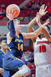 NORMAL, IL - November 03: Nolan Ebel shoots past Phil Fayne during a college basketball game between the ISU Redbirds  and the Augustana Vikings on November 03 2018 at Redbird Arena in Normal, IL. (Photo by Alan Look)