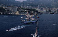 The  -  Captain Miranda -  school sailing ship (Colombia), during the Big parade Classic week,    Monaco        Le voilier école   - Captain Miranda  -  Colombie  durant la grande parade de la  - classic week -     Monaco   R00286/56    L4101  /  R00286  /  P0007621