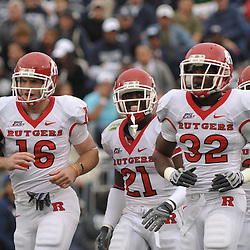 Oct 31, 2009; East Hartford, CT, USA; Rutgers cornerback Devin Mccourty (21) celebrates downing a punt on Connecticut's 1-yard line during second half Big East NCAA football action in Rutgers' 28-24 victory over Connecticut at Rentschler Field.