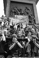 Peoples March for Jobs, Yorkshire and Liverpool to London. speaking in Trafalgar Square 31/05/1981