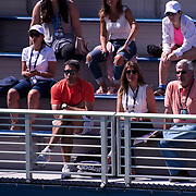 August 30, 2017 - New York, NY : Ramon Delgado, in red shirt at center left, watches as Nicole Gibbs (not visible) competes against Veronica Cepede Royg (not visible) on the third day of the U.S. Open, at the USTA Billie Jean King National Tennis Center in Queens, New York, on Wednesday. Delgado is Gibbs's coach. <br /> CREDIT : Karsten Moran for The New York Times