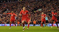 LIVERPOOL, ENGLAND - Thursday, April 14, 2016: Liverpool's Dejan Lovren celebrates scoring the dramatic fourth goal against Borussia Dortmund in injury time to seal a 4-3 (5-4 aggregate) victory during the UEFA Europa League Quarter-Final 2nd Leg match at Anfield. (Pic by David Rawcliffe/Propaganda)