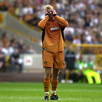 Photo: Greig Cowie.<br /> 08/08/2003.<br /> Pre-Season Football Friendly. Wolverhampton Wanderers v Boavista.<br /> Steffen Iversen fires in a shot on goal and hangs his head after its saved