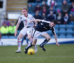 Inverness Caledonian Thistle's Carl Tremarco and Dundee's Paul McGinn.<br /> Dundee 1 v 1 Inverness Caledonian Thistle, SPFL Ladbrokes Premiership game played at Dens Park, 27/2/2016.