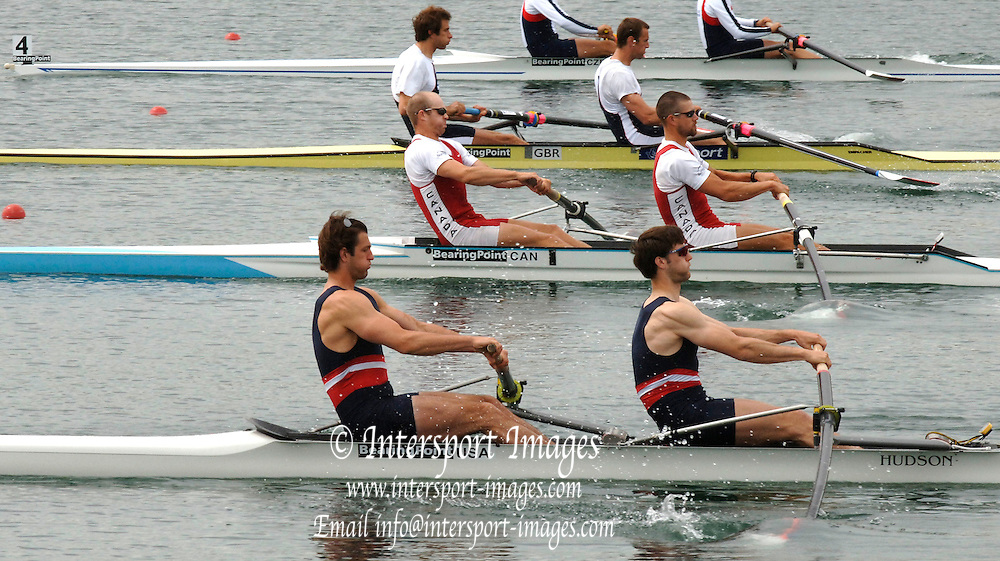 2005 FISA World Cup, Dorney Lake, Eton, ENGLAND, 26.05.05.  Men's pairs start CAN M2- and USA M2-. Photo  Peter Spurrier. .email images@intersport-images[Mandatory Credit Peter Spurrier/ Intersport Images] , Rowing Courses, Dorney Lake, Eton. ENGLAND