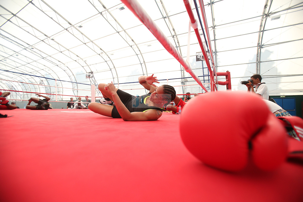 USA Olympic boxers train during a workout session at the SCORE Training Facility on July 26, 2012 in London, England. (Jed Jacobsohn/for The New York Times)....