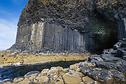 Staffa, a small island of Scotland's Inner Hebrides, is famous for the magnificent volcanic rock formations. Their geometric forms are part of the same formation as the more famous Giant's Causeway in Northern Ireland. Staffa's Fingal's Cave inspired Mendelssohn's 'Hebrides Overture' ('Die Fingalshöle') after his visit to the island. Mendelssohn was inspired by the deep, rhythmic, sounds  of the waves as they enter the cave. The island is owned by the National Trust for Scotland and was declared a National Nature Reserve in September 2001 by Scottish Natural Heritage.