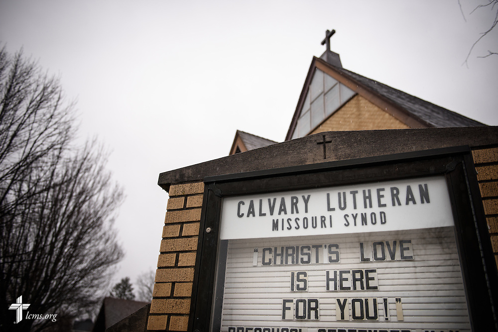 A message of hope is posted to the sign at Calvary Lutheran Church in Watseka, Ill., on Saturday, Jan. 9, 2016. A flood at the end of December ravaged over a 60-block radius of the town. LCMS Communications/Erik M. Lunsford