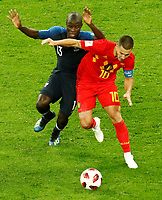 SAINT PETERSBURG, RUSSIA - JULY 10: Ngolo Kante (L) of France national team and Eden Hazard of Belgium national team vie for the ball during the 2018 FIFA World Cup Russia Semi Final match between France and Belgium at Saint Petersburg Stadium on July 10, 2018 in Saint Petersburg, Russia. MB Media