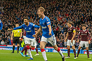 GOAL! - Filip Helander of Rangers FC opens the scoring in the stroke of half time during the Betfred Scottish League Cup semi-final match between Rangers and Heart of Midlothian at Hampden Park, Glasgow, United Kingdom on 3 November 2019.