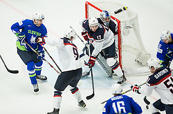 Bostjan Golicic of Slovenia, Ales Music of Slovenia and Ken Ograjensek of Slovenia vs Jack Eichel of USA, John Moore jr. of USA and Connor Hellebuyck of USA during Ice Hockey match between Slovenia and USA at Day 10 in Group B of 2015 IIHF World Championship, on May 10, 2015 in CEZ Arena, Ostrava, Czech Republic. Photo by Vid Ponikvar / Sportida