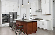 Contemporary kitchen in a new construction loft style townhome.