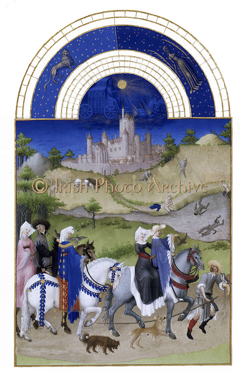 'The Très Riches Heures du Duc de Berry Is a French Gothic illuminated manuscript. The Très Riches Heures is a prayer book created for John, Duke of Berry, by the Limbourg brothers between 1412 and 1416. The book was completed by Jean Colombe between 1485 and 1489. The manuscript is held at the Musée Condé, Chantilly, France. this folio (August)shows a falconry scene. In the background depicts the castle of Etampes.'