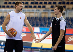 Goran Jagodnik and Goran Dragic  of Slovenia during the practice session, on September 12, 2009 in Arena Lodz, Hala Sportowa, Lodz, Poland.  (Photo by Vid Ponikvar / Sportida)