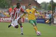 London - Saturday August 15th, 2009: Cody McDonald (L) of Norwich City in action against Troy Archibald-Henville of Exeter City during the Coca Cola League One match at St James Park, Exeter. (Pic by Mark Chapman/Focus Images)