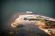 Aerial view of beach on a sand island near Charleston, SC
