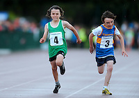 20 Aug 2016:  Gearoid Enright, left, Limerick, and Daithi Smith, from Tipperary, in the Boys U10 100m heats.   2016 Community Games National Festival 2016.  Athlone Institute of Technology, Athlone, Co. Westmeath. Picture: Caroline Quinn
