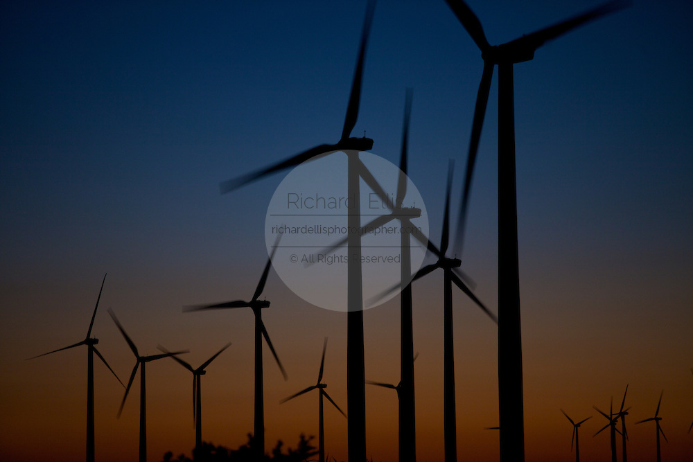 Twilight over wind turbines generating electrical power at Horse Hollow Wind Farm, Nolan county, Texas the world's largest wind power project.