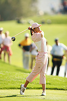 March 25, 2005; Rancho Mirage, CA, USA;  15 year old amateur Michelle Wie tees off from the 18th hole during the 2nd round of the LPGA Kraft Nabisco golf tournament held at Mission Hills Country Club.  Wie shot a 2 over par 74 for the day and was tied for 14th at an even par 144.<br />Mandatory Credit: Photo by Darrell Miho <br />&copy; Copyright Darrell Miho