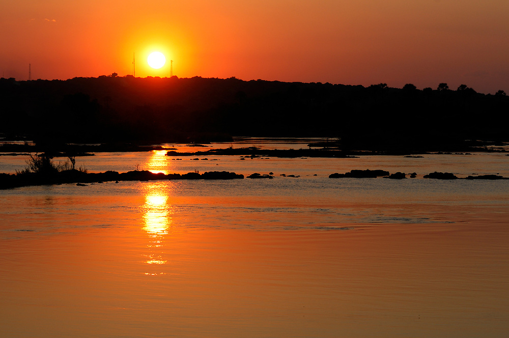Sunset over Zambesi River, Livingstone, Southern Province, Zambia