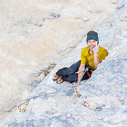 Jonathan Siegrist climbing Cobalt Gecko, 5.14 at Planet X in Cougar Canyon, Canmore, Alberta
