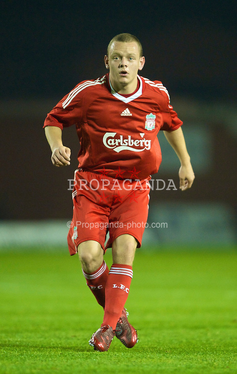 WARRINGTON, ENGLAND - Monday, November 3, 2008: Liverpool's Jay Spearing in action against Manchester City during the Premiership Reserve League match at the Halliwell Jones Stadium. (Photo by David Rawcliffe/Propaganda)