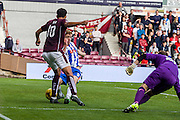 Hearts FC Forward Osman Sow unlike in this effort during the Ladbrokes Scottish Premiership match between Heart of Midlothian and Kilmarnock at Tynecastle Stadium, Gorgie, Scotland on 3 October 2015. Photo by Craig McAllister.