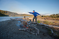 Campfire Surfing, lower Kanektok River..Shot in Alaska, USA