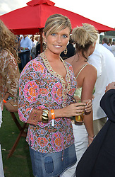 TINA HOBLEY at the 2005 Cartier International Polo between England & Australia held at Guards Polo Club, Smith's Lawn, Windsor Great Park, Berkshire on 24th July 2005.<br />