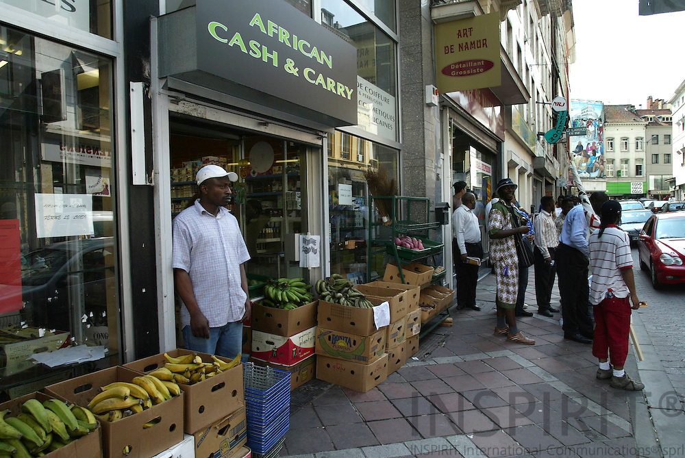BRUSSELS - BELGIUM - 30 JUNE 2006  -- Matonge the African City in the City at Porte De Namur -- African supermarket with all sorts of bananas and other african vegetables. PHOTO: ERIK LUNTANG /