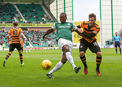 Hibernian's Marvin Bartley and Alloa Athletic's Steven Hetherington. <br /> Hibernian 3 v 0 Alloa Athletic, Scottish Championship game played 12/9/2015 at Easter Road.