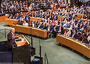President Donald Trump addressing the General Assembly at the United Nations in New York City, NY on September 19, 2017.