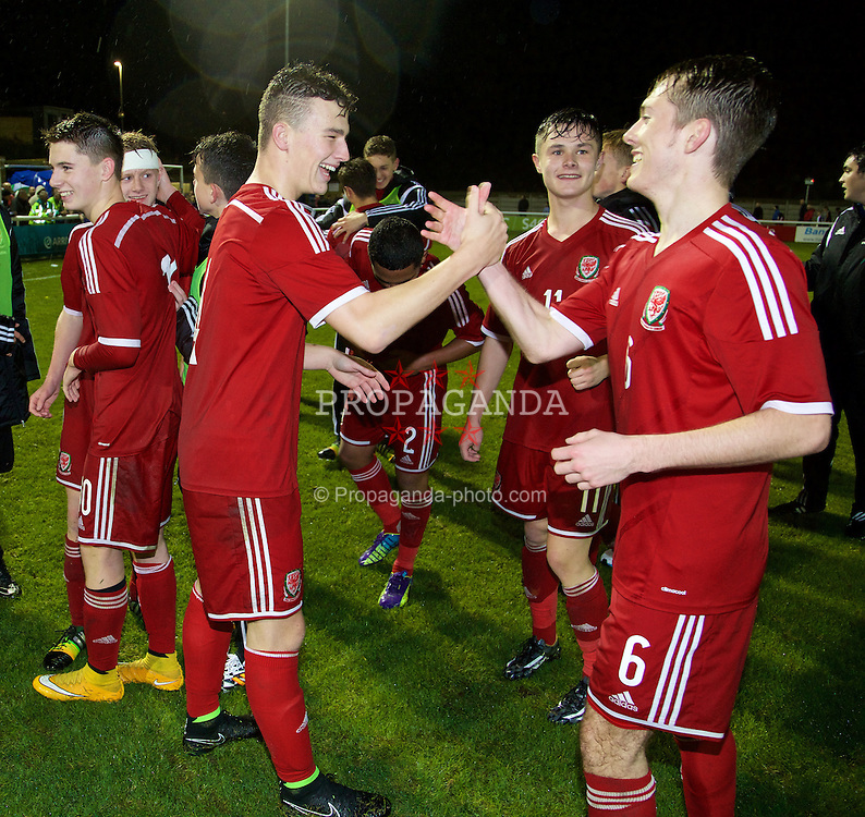 BANGOR, WALES - Friday, October 31, 2014: Wales' goalscorer Liam Angel celebrates after the 1-0 victory over England during the Under-16's Victory Shield International match at the Nantporth Stadium. (Pic by David Rawcliffe/Propaganda)