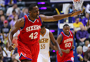 April 21, 2012; Indianapolis, IN, USA; Philadelphia 76ers power forward Elton Brand (42) celebrates a shot against the Indiana Pacers at Bankers Life Fieldhouse. Philadelphia defeated Indiana 109-106. Mandatory credit: Michael Hickey-US PRESSWIRE