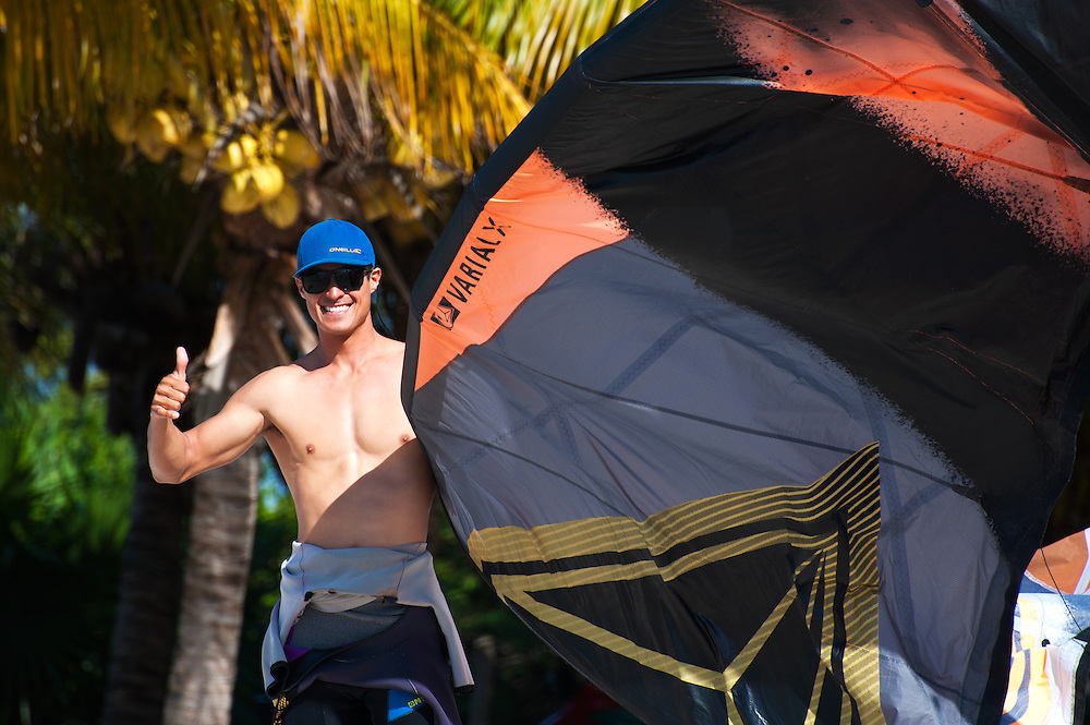 Kiteboarding Instructor Holding a Kite: Cancun, Mexico