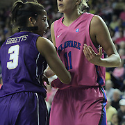 Delaware Forward Elena Delle Donne (11) battles James Madison Forward Toia Giggetts (3) in the paint during a regular season NCAA basketball game against James Madison Sunday, Feb 24, 2013 at the Bob Carpenter Center in Newark Delaware...Delaware (24-3; 15-0) defeated James Madison (18-9; 13-3) 61-60