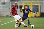 AC Milan's French defender Theo Hernandez and AS Roma's Italian defender Davide Zappacosta during the Serie A match at Giuseppe Meazza, Milan. Picture date: 28th June 2020. Picture credit should read: Jonathan Moscrop/Sportimage
