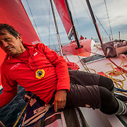 Leg Zero, St. Malo - Lisbon:  on board xx, . Photo by Jen Edney/Volvo Ocean Race. 14August, 2017