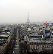 Eiffel Tower viewed from the top of the Arc de Triomphe in Paris