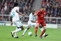 03.04.2012, Allianz Arena, Muenchen, GER, UEFA CL, Viertelfinal-Rueckspiel, FC Bayern Muenchen (GER) vs Olympique Marseille (FRA), im Bild Franck RIBERY (FC Bayern Muenchen), dahinter Rod FANNI (Olympique Marseille) // during the UEFA Championsleague Quaterfinal 2nd Leg Match, between FC Bayern Munich (GER) and Olympique Marseille (FRA), at the Allianz Arena, Munich, Germany on 2012/04/03. EXPA Pictures © 2012, PhotoCredit: EXPA/ Eibner/ Wolfgang Stuetzle..***** ATTENTION - OUT OF GER *****
