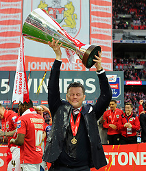Bristol City manager, Steve Cotterill lifts the JPT trophy  - Photo mandatory by-line: Joe Meredith/JMP - Mobile: 07966 386802 - 22/03/2015 - SPORT - Football - London - Wembley Stadium - Bristol City v Walsall - Johnstone Paint Trophy Final