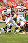 KANSAS CITY, MO - SEPTEMBER 10:  Running back Larry Johnson #37 of the Kansas City Chiefs runs with the ball during a game against the Cincinnati Bengals on September 10, 2006 at Arrowhead Stadium in Kansas City, Missouri..The Bengals won 23 to 10.  (Photo by Wesley Hitt/Getty Images)***Local Caption***Larry Johnson