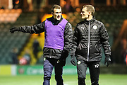 Forest Green Rovers Christian Doidge(9) and Forest Green Rovers strength and conditioning coach Tom Huelin during the EFL Trophy 3rd round match between Yeovil Town and Forest Green Rovers at Huish Park, Yeovil, England on 9 January 2018. Photo by Shane Healey.