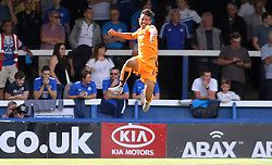 Colchester United's Macauley Bonne celebrates scoring his goal - Mandatory byline: Joe Dent/JMP - 07966386802 - 15/08/2015 - FOOTBALL - ABAX Stadium -Peterborough,England - Peterborough United v Colchester United - Sky Bet League One
