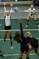 28 October 2016:  Deidi Dague during an NCAA womens division 3 Volleyball match between the DePauw Tigers and the Illinois Wesleyan Titans in Shirk Center, Bloomington IL