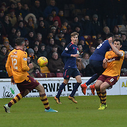 Carl McHugh (Motherwell) scores the winner during the Scottish Cup quarter final between Motherwell and Hearts at Fir Park, where the home side made it into the semi final draw with a win.<br /> <br /> (c) Dave Johnston | sportPix.org.uk